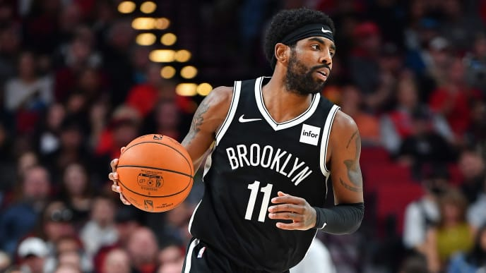 PORTLAND, OR - NOVEMBER 08: Kyrie Irving #11 of the Brooklyn Nets brings the ball up the court during a game against the Portland Trail Blazers at the Moda Center on November 8, 2019 in Portland, Oregon. The Brooklyn Nets topped the Portland Trail Blazers 119-115. (Photo by Alika Jenner/Getty Images)
