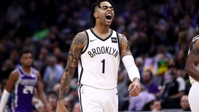 SACRAMENTO, CALIFORNIA - MARCH 19:  D'Angelo Russell #1 of the Brooklyn Nets reacts during their game against the Sacramento Kings at Golden 1 Center on March 19, 2019 in Sacramento, California.  NOTE TO USER: User expressly acknowledges and agrees that, by downloading and or using this photograph, User is consenting to the terms and conditions of the Getty Images License Agreement. (Photo by Ezra Shaw/Getty Images)