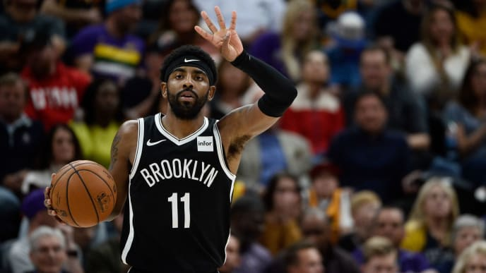 SALT LAKE CITY, UT - NOVEMBER 12:  Kyrie Irving #11 of the Brooklyn Nets in action during a game against the Utah Jazz at Vivint Smart Home Arena on November 12, 2019 in Salt Lake City, Utah. NOTE TO USER: User expressly acknowledges and agrees that, by downloading and/or using this photograph, user is consenting to the terms and conditions of the Getty Images License Agreement.  (Photo by Alex Goodlett/Getty Images)