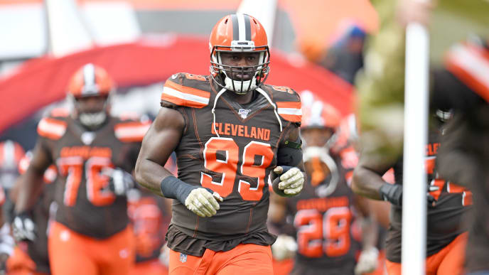 CLEVELAND, OHIO - NOVEMBER 10: Defensive tackle Devaroe Lawrence #99 of the Cleveland Browns runs onto the field during player introductions prior to the game against the Buffalo Bills at FirstEnergy Stadium on November 10, 2019 in Cleveland, Ohio. (Photo by Jason Miller/Getty Images)