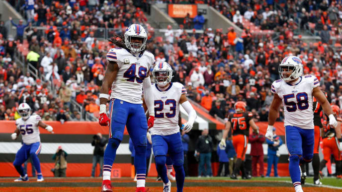 CLEVELAND, OH - NOVEMBER 10:  Tremaine Edmunds #49 of the Buffalo Bills celebrates after sacking Baker Mayfield #6 of the Cleveland Browns in the end zone for a safety during the fourth quarter at FirstEnergy Stadium on November 10, 2019 in Cleveland, Ohio. Cleveland defeated Buffalo 19-16. (Photo by Kirk Irwin/Getty Images)