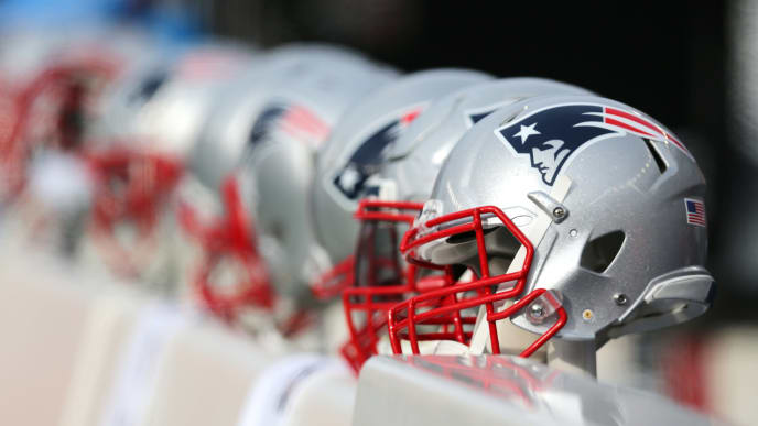FOXBORO, MA - DECEMBER 24: A New England Patriots helmet during the first half of the game between the New England Patriots and the Buffalo Bills at Gillette Stadium on December 24, 2017 in Foxboro, Massachusetts. (Photo by Maddie Meyer/Getty Images)