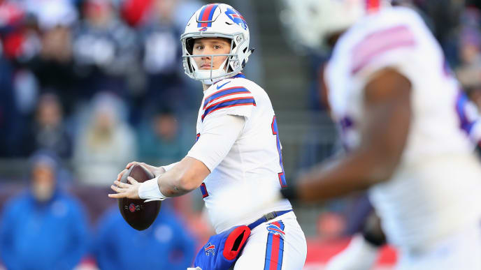 FOXBOROUGH, MA - DECEMBER 23:  Josh Allen #17 of the Buffalo Bills looks to pass during the first half against the New England Patriots at Gillette Stadium on December 23, 2018 in Foxborough, Massachusetts.  (Photo by Maddie Meyer/Getty Images)