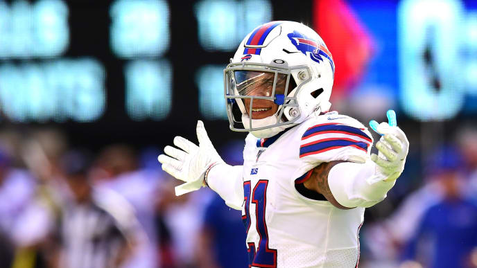 EAST RUTHERFORD, NEW JERSEY - SEPTEMBER 15: Jordan Poyer #21 of the Buffalo Bills celebrates after the Buffalo Bills win over the New York Giants at MetLife Stadium on September 15, 2019 in East Rutherford, New Jersey. (Photo by Emilee Chinn/Getty Images)
