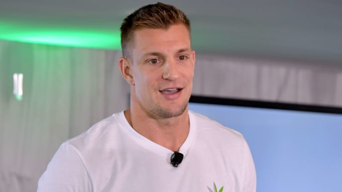"FOXBOROUGH, MA - OCTOBER 25:  Abacus Health Products (""Abacus""), maker of CBDMEDIC, hosts a press conference with Rob Gronkowski and Abacus CEO Perry Antelman to announce a partnership with Gillette Stadium and Patriot Place, revealing that CBDMEDIC branding will be present outside the stadium and throughout Patriot Place, including a new look for the iconic water tower as part of a new CBD advocacy program.  (Photo by Paul Marotta/Getty Images for Abacus Health Products )"