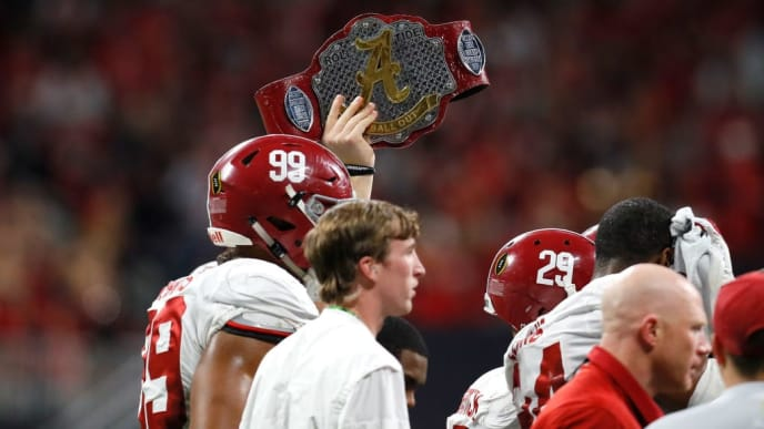 ATLANTA, GA - JANUARY 08: An Alabama Crimson Tide player holds the Ball Out Belt on the sidelines during the second quarter against the Georgia Bulldogs in the CFP National Championship presented by AT&T at Mercedes-Benz Stadium on January 8, 2018 in Atlanta, Georgia.  (Photo by Kevin C. Cox/Getty Images)