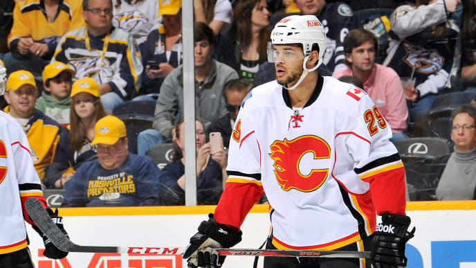 NASHVILLE, TN - APRIL 23:  Akim Aliu #29 of the Calgary Flames skates against the Nashville Predators at the Bridgestone Arena on April 23, 2013 in Nashville, Tennessee.  (Photo by Frederick Breedon/Getty Images)