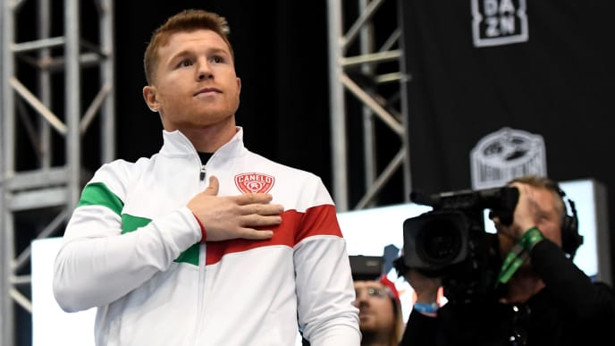 LAS VEGAS, NEVADA - NOVEMBER 01:  Boxer Canelo Alvarez gestures during his official weigh-in at MGM Grand Garden Arena on November 1, 2019 in Las Vegas, Nevada. Alvarez, who is making his debut at light heavyweight, will challenge WBO light heavyweight champion Sergey Kovalev for his title at MGM Grand Garden Arena in Las Vegas on November 2.  (Photo by Ethan Miller/Getty Images)