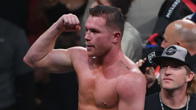 LAS VEGAS, NEVADA - NOVEMBER 02:  Canelo Alvarez celebrates his 11th-round knockout of Sergey Kovalev to win their WBO light heavyweight title fight at MGM Grand Garden Arena on November 2, 2019 in Las Vegas, Nevada.  (Photo by Ethan Miller/Getty Images)