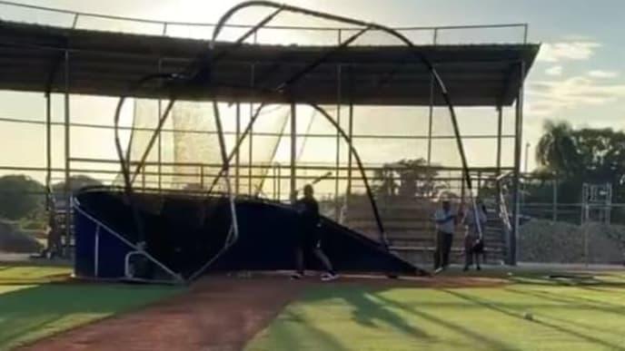 Jasson Domínguez en una práctica de bateo