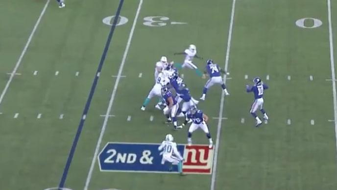 Eli Manning se equivocó de mala manera en esta jugada