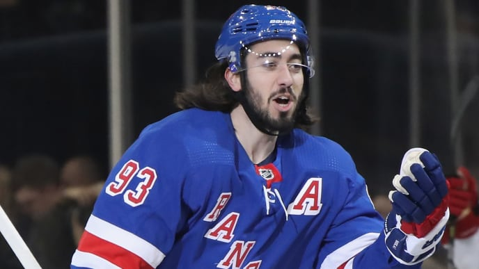 NEW YORK, NEW YORK - NOVEMBER 27: Mika Zibanejad #93 of the New York Rangers celebrates his power-play goal at 2:54 of the first period against the Carolina Hurricanes at Madison Square Garden on November 27, 2019 in New York City. The Rangers defeated the Hurricanes 3-2. (Photo by Bruce Bennett/Getty Images)