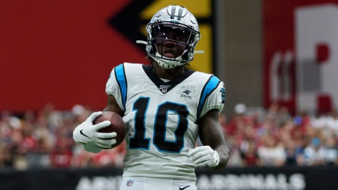 GLENDALE, ARIZONA - SEPTEMBER 22: Wide receiver Curtis Samuel #10 of the Carolina Panthers runs with the ball in the NFL game against the Arizona Cardinals at State Farm Stadium on September 22, 2019 in Glendale, Arizona. The Carolina Panthers won 38-20. (Photo by Jennifer Stewart/Getty Images)