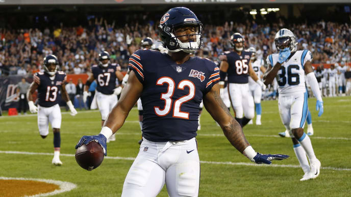 CHICAGO, ILLINOIS - AUGUST 08: David Montgomery #32 of the Chicago Bears reacts after scoring a touchdown against the Carolina Panthers during a preseason game at Soldier Field on August 08, 2019 in Chicago, Illinois. (Photo by Nuccio DiNuzzo/Getty Images)