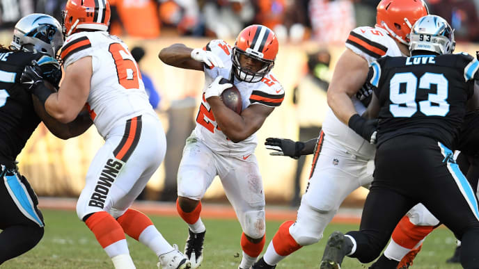 CLEVELAND, OH - DECEMBER 09:  Nick Chubb #24 of the Cleveland Browns carries the ball during the fourth quarter against the Carolina Panthers at FirstEnergy Stadium on December 9, 2018 in Cleveland, Ohio. (Photo by Jason Miller/Getty Images)
