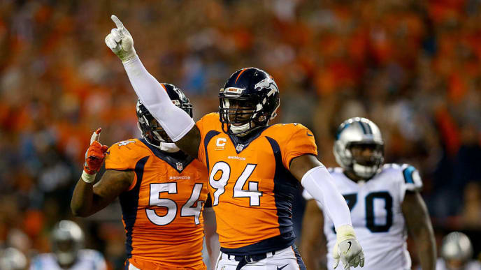 DENVER, CO - SEPTEMBER 08:  Outside linebacker DeMarcus Ware #94 of the Denver Broncos reacts in the second half while taking on the Carolina Panthers at Sports Authority Field at Mile High on September 8, 2016 in Denver, Colorado.  (Photo by Justin Edmonds/Getty Images)