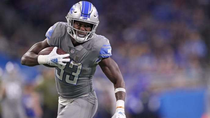 DETROIT, MI - NOVEMBER 18: Kerryon Johnson #33 of the Detroit Lions runs for a first down during the second quarter of the game against the Carolina Panthers at Ford Field on November 18, 2018 in Detroit, Michigan (Photo by Leon Halip/Getty Images)