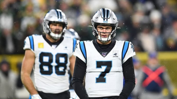 GREEN BAY, WISCONSIN - NOVEMBER 10:  Kyle Allen #7 of the Carolina Panthers looks to the sideline during a game against the Green Bay Packers at Lambeau Field on November 10, 2019 in Green Bay, Wisconsin. The Packers defeated the Panthers 24-16.   (Photo by Stacy Revere/Getty Images)