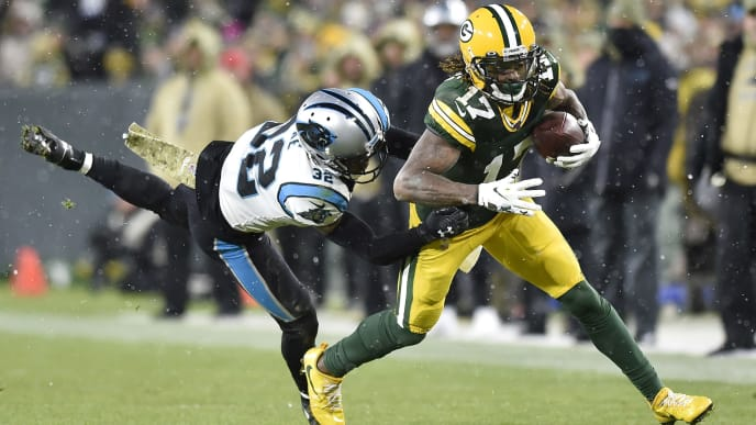 GREEN BAY, WISCONSIN - NOVEMBER 10: Davante Adams #17 of the Green Bay Packers runs with the football in the second half against the Carolina Panthers at Lambeau Field on November 10, 2019 in Green Bay, Wisconsin. (Photo by Quinn Harris/Getty Images)