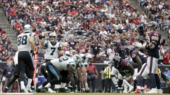 HOUSTON, TX - SEPTEMBER 29:  Kyle Allen #7 of the Carolina Panthers signals at the line of scrimmage against the Houston Texans in the second half at NRG Stadium on September 29, 2019 in Houston, Texas.  (Photo by Tim Warner/Getty Images)
