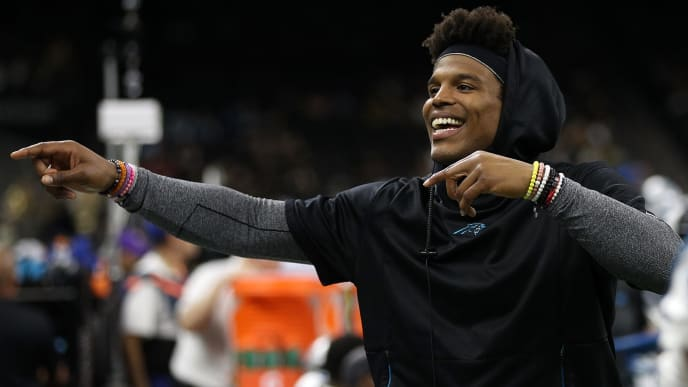 NEW ORLEANS, LOUISIANA - DECEMBER 30: Cam Newton #1 of the Carolina Panthers talks with fans during the game against the New Orleans Saints during the first half at the Mercedes-Benz Superdome on December 30, 2018 in New Orleans, Louisiana. (Photo by Chris Graythen/Getty Images)