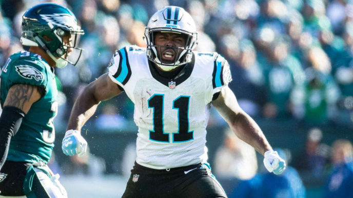 PHILADELPHIA, PA - OCTOBER 21:  Torrey Smith #11 of the Carolina Panthers celebrates during the second half against the Philadelphia Eagles at Lincoln Financial Field on October 21, 2018 in Philadelphia, Pennsylvania. Carolina defeats Philadelphia 21-17.  (Photo by Brett Carlsen/Getty Images)