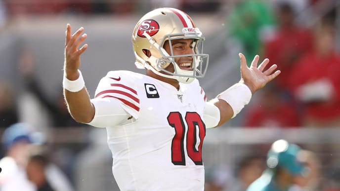 SANTA CLARA, CALIFORNIA - OCTOBER 27: Jimmy Garoppolo #10 of the San Francisco 49ers celebrates after a touchdown against the Carolina Panthers during the second quarter at Levi's Stadium on October 27, 2019 in Santa Clara, California. (Photo by Ezra Shaw/Getty Images)