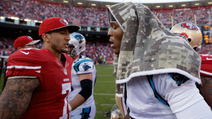 SAN FRANCISCO, CA - NOVEMBER 10:  Colin Kaepernick #7 of the San Francisco 49ers congratulates Cam Newton #1 of the Carolina Panthers after the Panthers beat the 49ers at Candlestick Park on November 10, 2013 in San Francisco, California.  (Photo by Ezra Shaw/Getty Images)