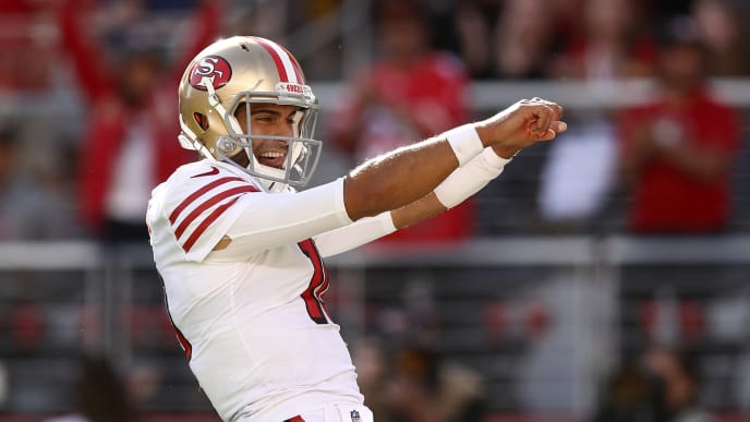 SANTA CLARA, CALIFORNIA - OCTOBER 27:  Jimmy Garoppolo #10 of the San Francisco 49ers celebrates after Deebo Samuel #19 ran the ball in for a touchdown against the Carolina Panthers at Levi's Stadium on October 27, 2019 in Santa Clara, California. (Photo by Ezra Shaw/Getty Images)