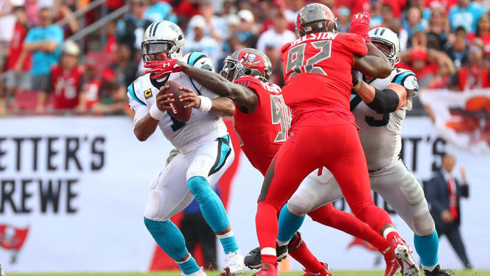 TAMPA, FLORIDA - DECEMBER 02: Cam Newton #1 of the Carolina Panthers gets sacked by Jason Pierre-Paul #90 of the Tampa Bay Buccaneers in the fourth quarter at Raymond James Stadium on December 02, 2018 in Tampa, Florida. The Buccaneers won 24-17.  (Photo by Will Vragovic/Getty Images)