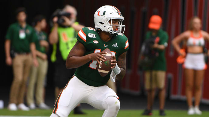 MIAMI, FLORIDA - SEPTEMBER 21: Jarren Williams #15 of the Miami Hurricanes in action in the first half against the Central Michigan Chippewas at Hard Rock Stadium on September 21, 2019 in Miami, Florida. (Photo by Mark Brown/Getty Images)