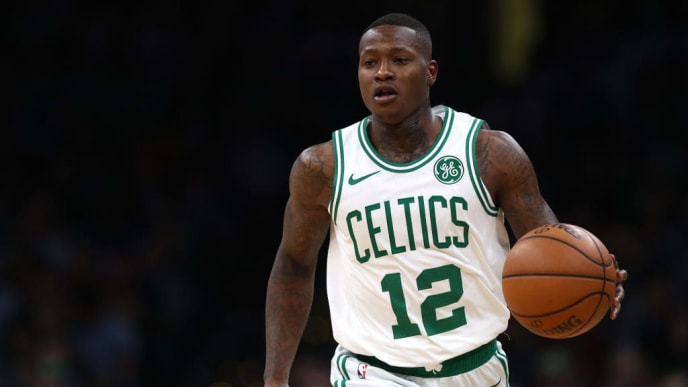 BOSTON, MASSACHUSETTS - JANUARY 30: Terry Rozier #12 of the Boston Celtics dribbles against the Boston Celtics during the second half at TD Garden on January 30, 2019 in Boston, Massachusetts. NOTE TO USER: User expressly acknowledges and agrees that, by downloading and or using this photograph, User is consenting to the terms and conditions of the Getty Images License Agreement. (Photo by Maddie Meyer/Getty Images)