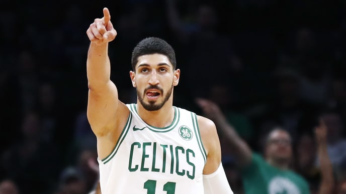 BOSTON, MASSACHUSETTS - OCTOBER 06: Enes Kanter #11 of the Boston Celtics reacts during the third quarter of the game against the Charlotte Hornets at TD Garden on October 06, 2019 in Boston, Massachusetts. NOTE TO USER: User expressly acknowledges and agrees that, by downloading and or using this photograph, User is consenting to the terms and conditions of the Getty Images License Agreement. (Photo by Omar Rawlings/Getty Images)
