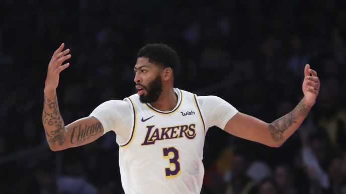 LOS ANGELES, CALIFORNIA - OCTOBER 27: Anthony Davis # 3 of the Los Angeles Lakers looks on after a shot during the first half of a game against the Charlotte Hornets at Staples Center on October 27, 2019 in Los Angeles, California. (Photo by Sean M. Haffey / Getty Images)
