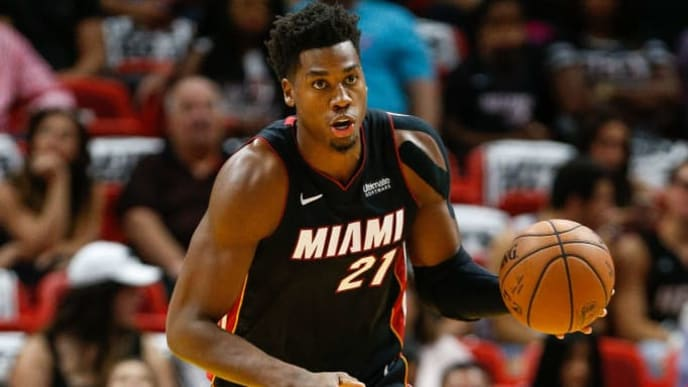 MIAMI, FL - OCTOBER 20:  Hassan Whiteside #21 of the Miami Heat in action against the Charlotte Hornets at American Airlines Arena on October 20, 2018 in Miami, Florida. NOTE TO USER: User expressly acknowledges and agrees that, by downloading and or using this photograph, User is consenting to the terms and conditions of the Getty Images License Agreement.  (Photo by Michael Reaves/Getty Images)