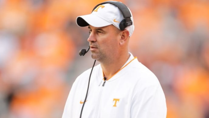 KNOXVILLE, TN - NOVEMBER 3: Head coach Jeremy Pruitt of the Tennessee Volunteers walks the sidelines during the game between the Charlotte 49ers and the Tennessee Volunteers at Neyland Stadium on November 3, 2018 in Knoxville, Tennessee. Tennessee won the game 14-3. (Photo by Donald Page/Getty Images)