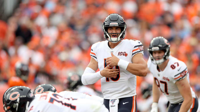 DENVER, COLORADO - SEPTEMBER 15: Quarterback Mitchell Trubisky #10 of the Chicago Bears plays against the Denver Broncos at Empower Field at Mile High on September 15, 2019 in Denver, Colorado. (Photo by Matthew Stockman/Getty Images)