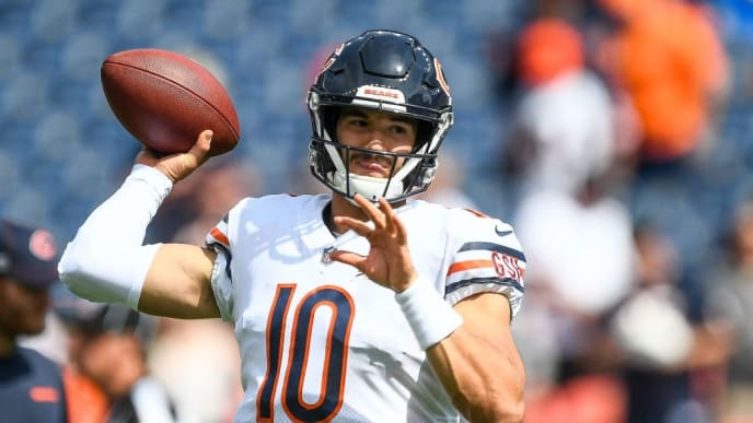 DENVER, CO - SEPTEMBER 15:  Mitchell Trubisky #10 of the Chicago Bears throws as he warms up before a game against the Denver Broncos at Empower Field at Mile High on September 15, 2019 in Denver, Colorado. (Photo by Dustin Bradford/Getty Images)