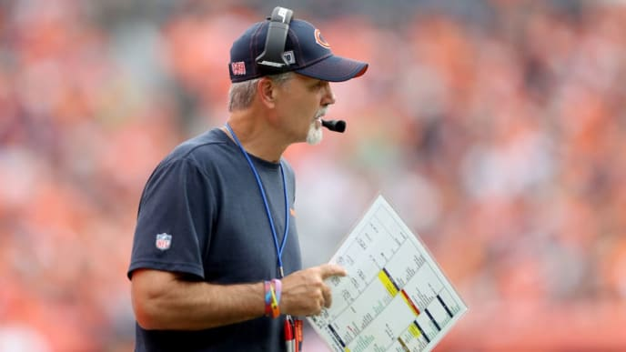 DENVER, COLORADO - SEPTEMBER 15: Defensive coordinator Chuck Pagano of the Chicago Bears works the sidelines against the Denver Broncos at Empower Field at Mile High on September 15, 2019 in Denver, Colorado. (Photo by Matthew Stockman/Getty Images)