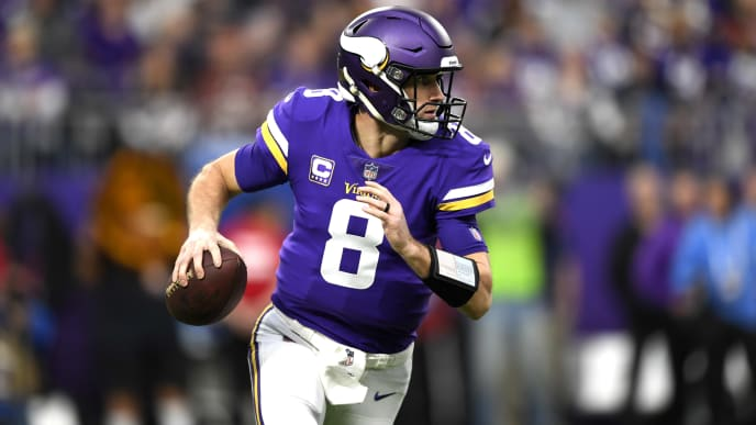 MINNEAPOLIS, MN - DECEMBER 30: Kirk Cousins #8 of the Minnesota Vikings looks to pass the ball in the first quarter of the game against the Chicago Bears at U.S. Bank Stadium on December 30, 2018 in Minneapolis, Minnesota. (Photo by Hannah Foslien/Getty Images)
