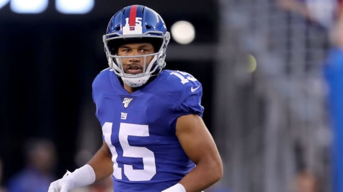 EAST RUTHERFORD, NEW JERSEY - AUGUST 16:G  olden Tate #15 of the New York Giants runs during a preseason game against the Chicago Bears at MetLife Stadium on August 16, 2019 in East Rutherford, New Jersey. (Photo by Elsa/Getty Images)