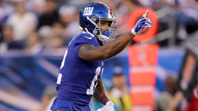 EAST RUTHERFORD, NEW JERSEY - AUGUST 16: Cody Latimer #12 of the New York Giants celebrates his first down against the Chicago Bears during a preseason game at MetLife Stadium on August 16, 2019 in East Rutherford, New Jersey. (Photo by Elsa/Getty Images)