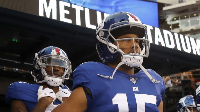 EAST RUTHERFORD, NEW JERSEY - AUGUST 16: Golden Tate #15 of the New York Giants takes the field before the game against the Chicago Bears during a preseason game at MetLife Stadium on August 16, 2019 in East Rutherford, New Jersey. (Photo by Elsa/Getty Images)