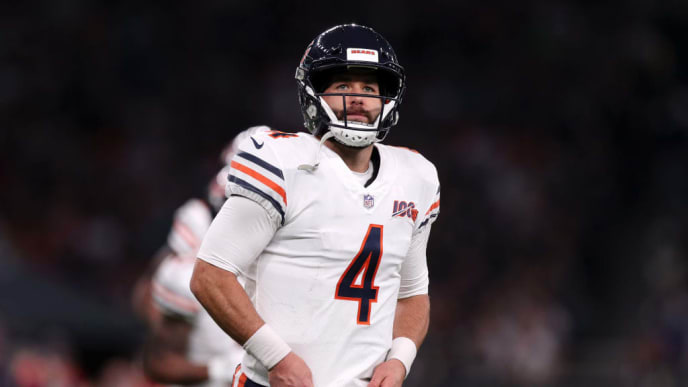 LONDON, ENGLAND - OCTOBER 06: Chase Daniel of Chicago Bears looks on during the game between Chicago Bears and Oakland Raiders at Tottenham Hotspur Stadium on October 06, 2019 in London, England. (Photo by Naomi Baker/Getty Images)