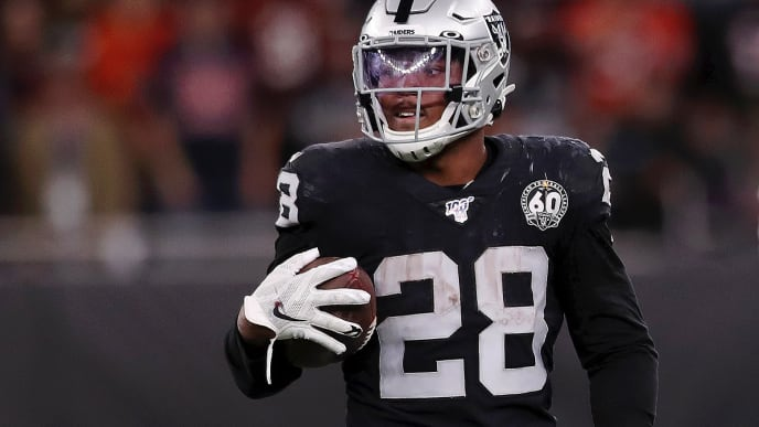LONDON, ENGLAND - OCTOBER 06: Josh Jacobs of Oakland Raiders looks on during the game between Chicago Bears and Oakland Raiders at Tottenham Hotspur Stadium on October 06, 2019 in London, England. (Photo by Naomi Baker/Getty Images)