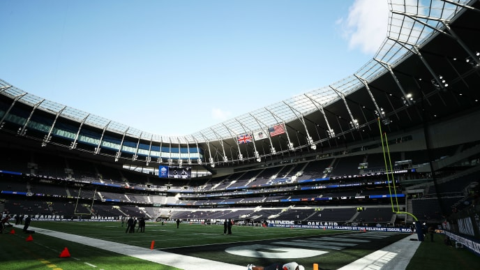 LONDON, ENGLAND - OCTOBER 06: General view inside the stadium ahead of the game between Chicago Bears and Oakland Raiders at Tottenham Hotspur Stadium on October 06, 2019 in London, England. (Photo by Naomi Baker/Getty Images)