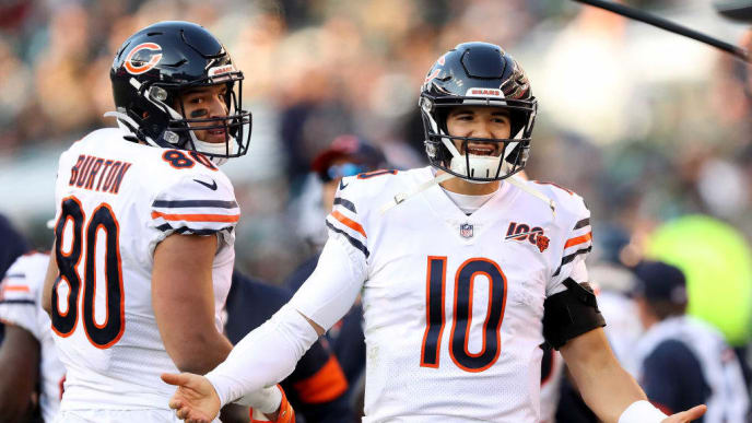PHILADELPHIA, PENNSYLVANIA - NOVEMBER 03:  Mitchell Trubisky #10 of the Chicago Bears reacts after it is ruled that Tarik Cohen was short of the goal line in the fourth quarter against the Philadelphia Eagles at Lincoln Financial Field on November 03, 2019 in Philadelphia, Pennsylvania.The Philadelphia Eagles defeated the Chicago Bears 22-14. (Photo by Elsa/Getty Images)