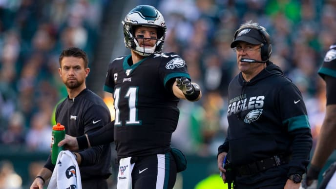 PHILADELPHIA, PA - NOVEMBER 03: Carson Wentz #11 of the Philadelphia Eagles talks to head coach Doug Pederson against the Chicago Bears at Lincoln Financial Field on November 3, 2019 in Philadelphia, Pennsylvania. (Photo by Mitchell Leff/Getty Images)