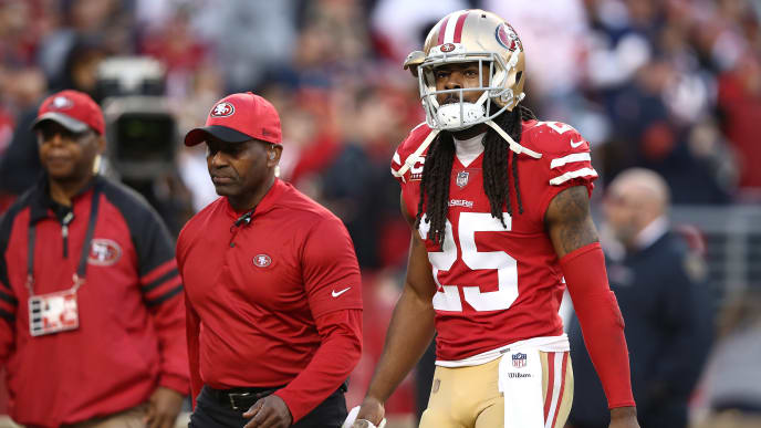 SANTA CLARA, CA - DECEMBER 23: Richard Sherman #25 of the San Francisco 49ers walks off the field after being ejected for fighting during their NFL game against the Chicago Bears at Levi's Stadium on December 23, 2018 in Santa Clara, California. (Photo by Ezra Shaw/Getty Images)