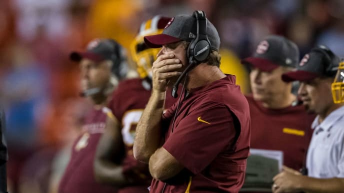 LANDOVER, MD - SEPTEMBER 23: Head coach Jay Gruden of the Washington Redskins reacts against the Chicago Bears during the second half at FedExField on September 23, 2019 in Landover, Maryland. (Photo by Scott Taetsch/Getty Images)